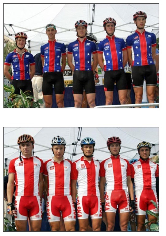 The Polish national cycling team displays its assets.