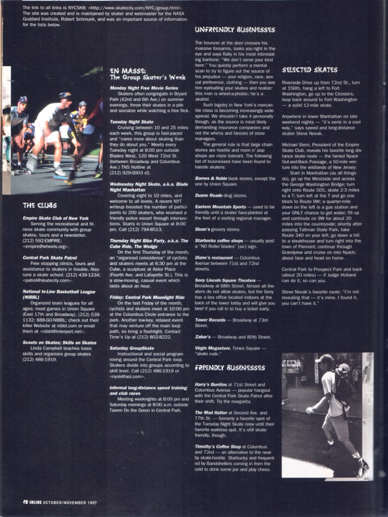 A one-page précis of skating in Manhattan during the glory years. Many organized group skates, most businesses let you skate inside, AOL e-mail addresses. Truly it was the 1990s.