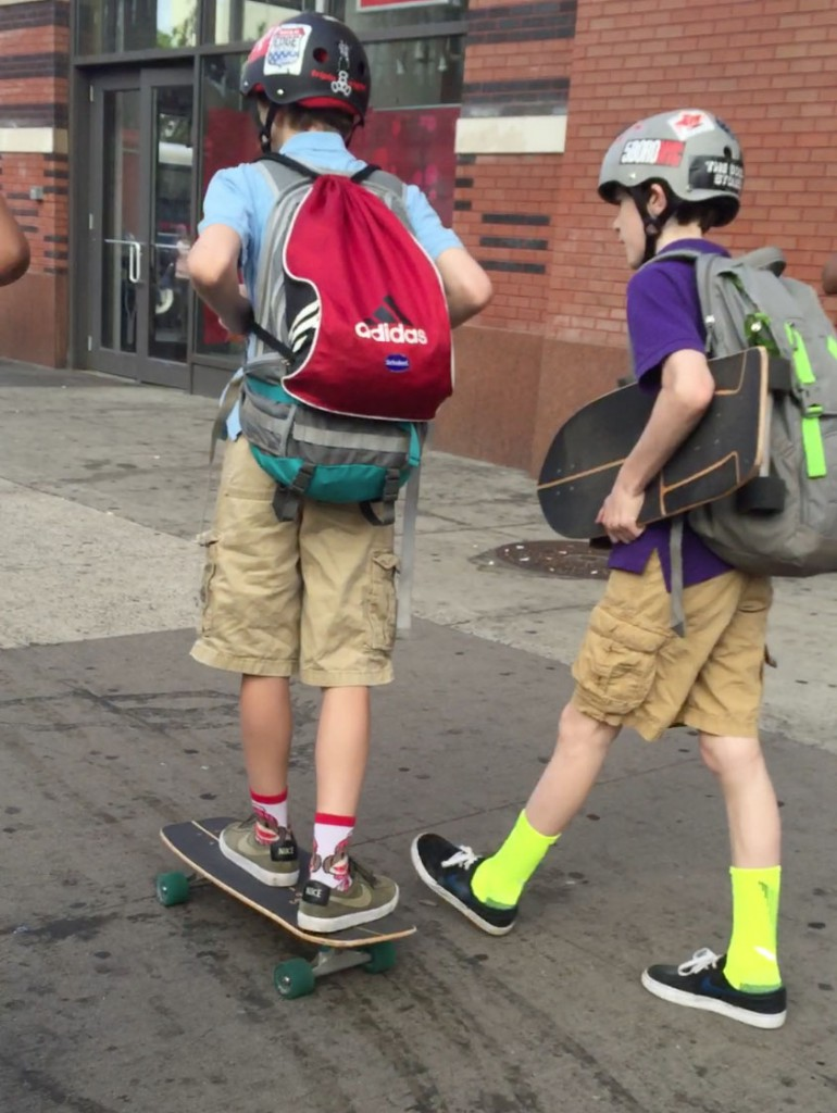 At 125th and Lenox. These kids then hopped off their boards and went into the subway.